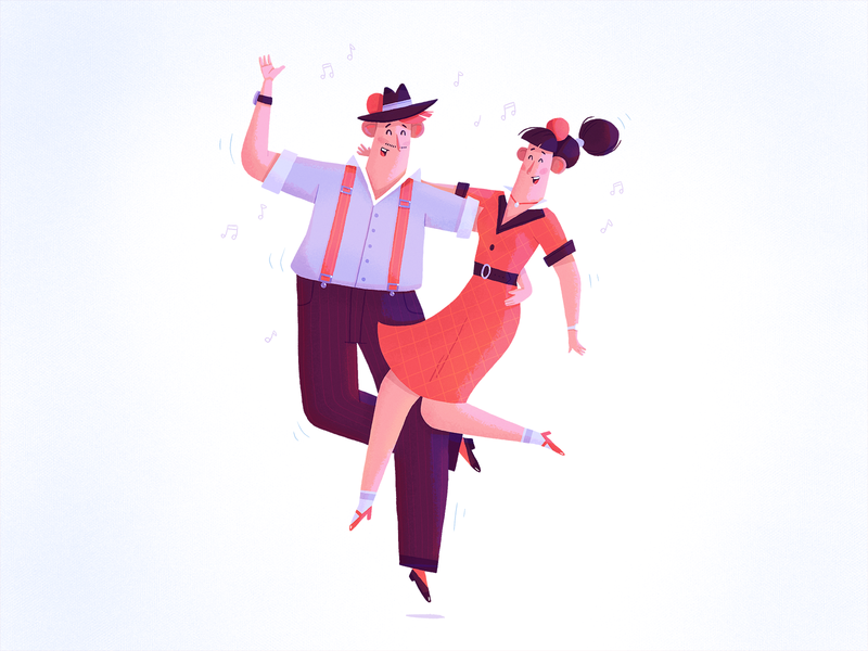 Feel the music couple music dance dancers character dribbble illustration fireart fireart studio