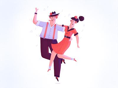 Feel the music couple music dance dancers character dribbble illustration fireart fireart studio