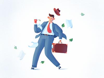 Work Flow briefcase wind work office character dribbble design art fireart fireart studio illustration