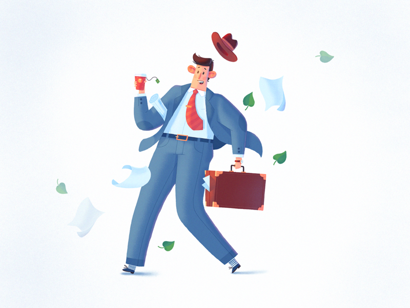 Work Flow briefcase wind work office character dribbble design art fireart fireart studio illustration