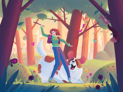 A Walk In The Woods outdoor forest walk dog character dribbble art fireart fireart studio illustration