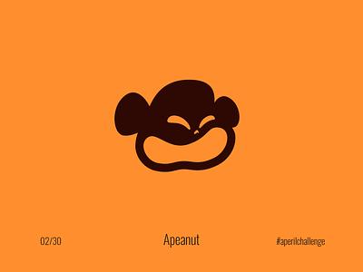 Apeanut #aperilchallenge 02/30 cute warm monke sandwich april joke gorilla bonobo chimp smart logo laughing smile challenge jam sweet monkey face peanut butter peanut ape