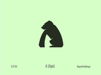 A (Ape) #aperilchallenge 03/30 kong king kong hello dribble simple ape logo gorilla logo nature wild angry chimpanzee bonobo chimp silver bakc letter a creative logo monkey gorilla ape