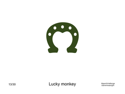Lucky monkey #aperilchallenge 13/30 horsesoe lucky face bonobo invite giveaway creative logo gorilla chimp hello dribble smart logo monkey ape