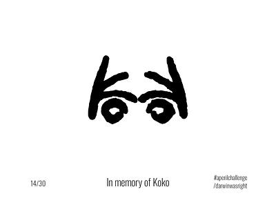 Koko #aperilchallenge 14/30 koko face simple bonobo invite giveaway creative logo gorilla chimp hello dribble smart logo monkey ape