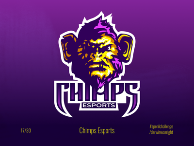 Chimps Esports #aperilchallenge 17/30 team angry gaming team logo esport esports logo esports gorilla chimp hello dribble smart logo monkey ape