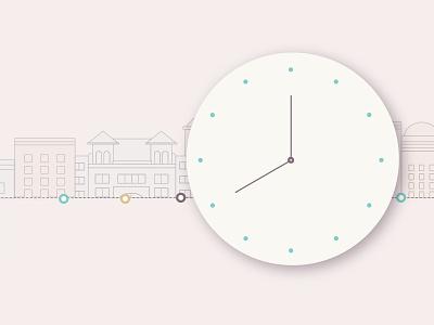 Hotels over time pastel clock hotel colour line illustration