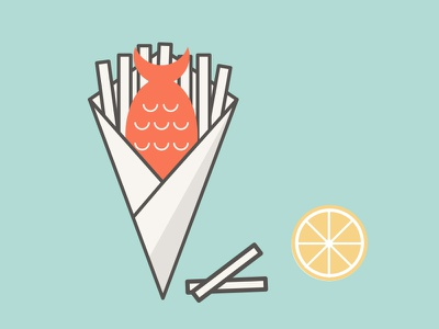 Fish & Chips graphic food illustration chips fish