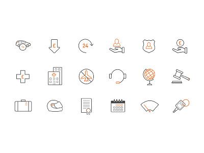 Icon set calendar hospital holiday money car illustration line icons icon