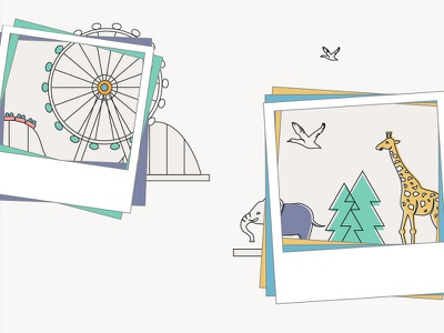 Attraction Illustration line illustration fun rollercoaster theme park zoo animal illustration pastel attraction