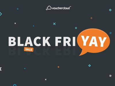 Black Friday Vouchercloud colour and lines friyay shapes sale celebration illustration campaign offer black friday