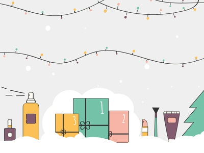 Beauty Advent Calendar line illustration colour illustration christmas tree christmas adventcalendar calendar beauty