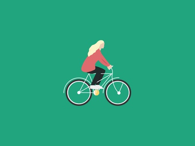 Girl Cycling Illustration