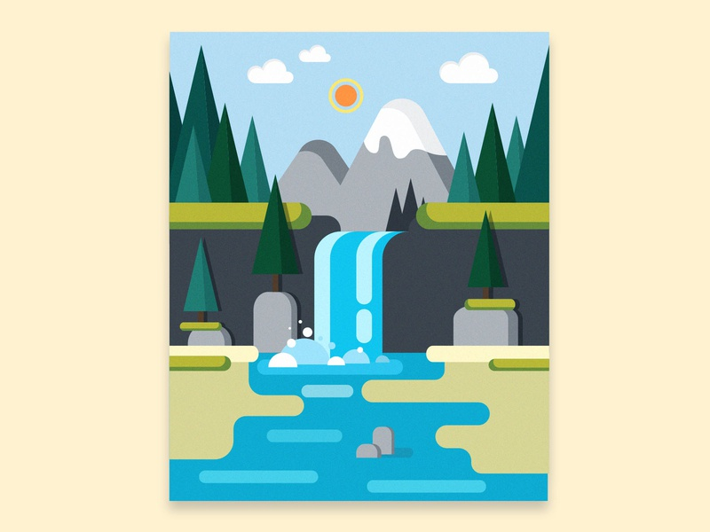 waterfall vector illustrator illustration design