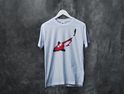 Design t-shirt Koi With Mockup art branding illustration logo vector designers designer portfolio designer design fish design fish logo fish koi t-shirt mockup t-shirt design t-shirt