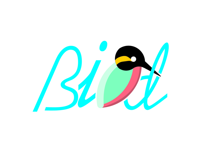Typography Bird t-shirt design flat text logo branding typography logo design