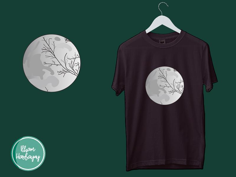Moon (Design T-shirt) logodesign t-shirt t-shirt design flat vector text logo typography branding logo design