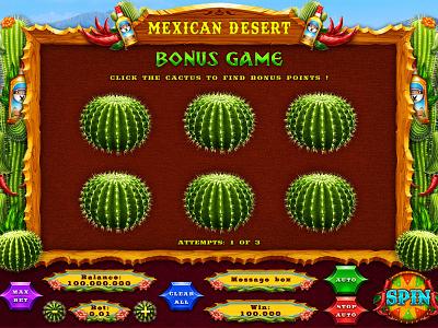 """""""Mexican Desert"""" slot bonus game slot machine development slot game graphics slot bonus game slot bonus bonus game art bonus game design bonus game slot game art mexican art mexican themed mexican slot online game design game art"""