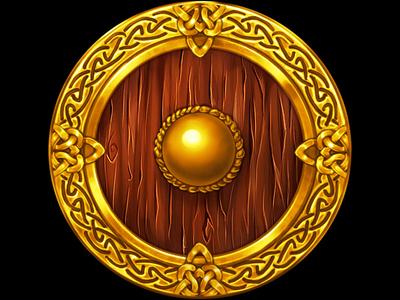 A Viking's Shield as a slot symbol nordic symbolizm scandinavian design scandinavian style viking themed slot viking slot game viking slot slot game graphics shield design shield art shield viking themed online slot design game design game art