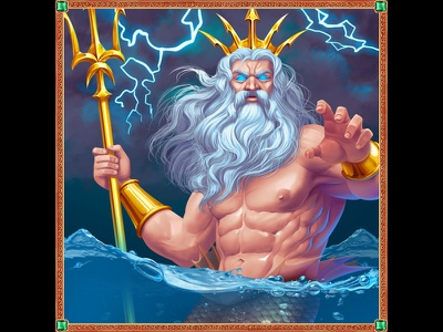 Poseidon as a slot symbol character designer character design character slot game graphics gambling design gambling art digital illustration digital illustrator digital designer digitalart digital painting digital art slot machine gambling game art online slot design game design
