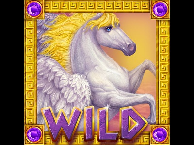 A Pegasus as a Wild slot symbol digital illustration slot game art pegasus pegasus symbol game graphics slot game graphics digital graphics design game slot graphic design digital art slot machine game art game design gambling online slot design