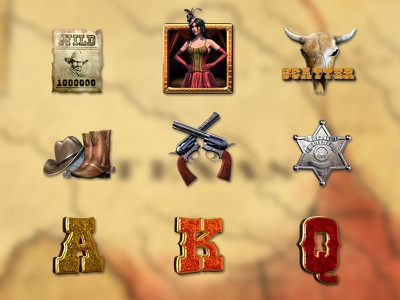 Set of Wild West symbols cowboy slot cowboy themed sheriff wanted skull hat pistols wild west symbols wild west set symbols graphic design game slot digital art slot machine graphic design gambling slot design game design game art