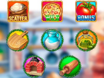 Set of symbols for the Pizza themed slot game slot development game development company game development studio slot symbol development slot symbol art slot symbol design symbols development symbols design set symbols slot symbols digital art slot machine graphic design gambling slot design game design game art