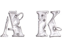Sketches of slot letters for the slot machine