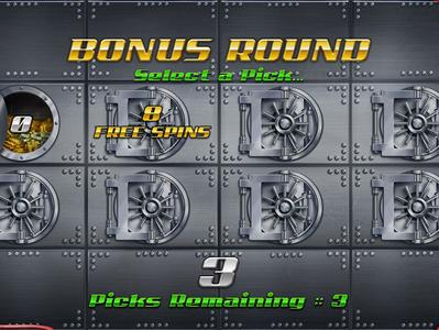 "Bonus Round of the slot game ""The Heist"" slot art slot deisn door golden gold gold bar vault robbery robber bank bonus round bonus game bonusthemes heist"