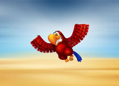 Iago parrot as a slot machine symbol