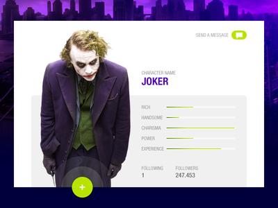 Joker user profile ui profile user batman joker dailyui