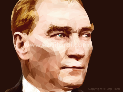 Atatürk triangle art polygon illustration design lowpoly atatürk