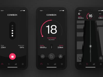 Cowboy App dashboard stats statistics walkthrough map speedometer electric bike ios app