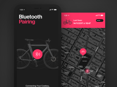 Cowboy App - Bluetooth Pairing dark map pairing bluetooth bike app ios