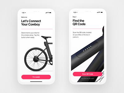 Cowboy App - Setup code qr setup walkthrough bike ios app