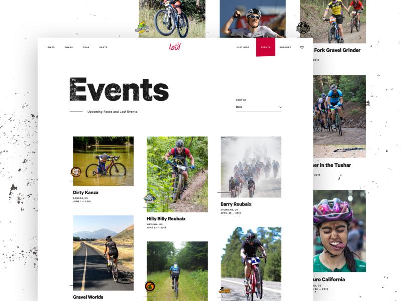 Lauf - Events Page biking website cards list events bike