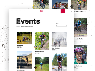 Lauf - Events Page biking website cards list events bike