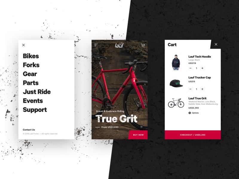 Lauf - Mobile Version website grunge gritty menu shop bike product mobile