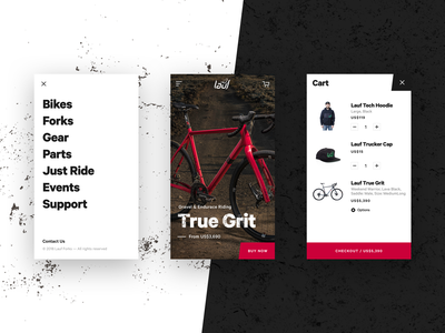 Lauf - Mobile Version website grunge gritty menu shop bike product mobile