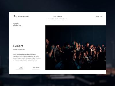 Ólafur Arnalds - Dark Mode dark mode tour dates horizontal scroll artist player variable font website music