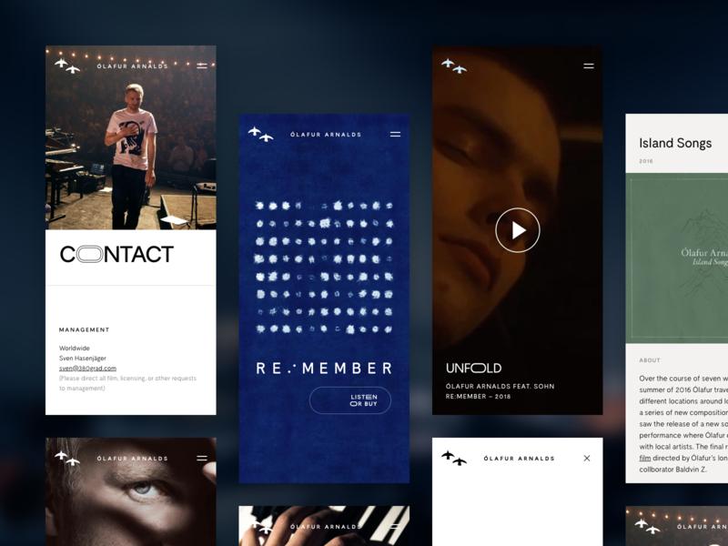Ólafur Arnalds - Mobile player variable font responsive website music artist