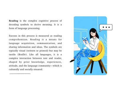 Spot Illustration Girl Reading a Book girl illustration girl character reading editorial illustration editorial design spot illustration book design procreate flat outline minimal illustration