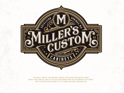 Miller's Custom Cabinets adobe illustrator brand identity luxury typography classic custom build cabinet sophisticated elegant furnishing home wood vintage