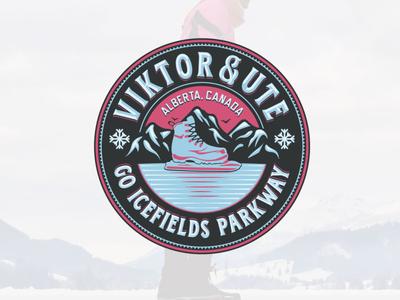 Viktor & Ute adobe illustrator retro classic snowflake logo canada alberta wintertime skate recreation winter snow ice iceskating mountain parkway icefield
