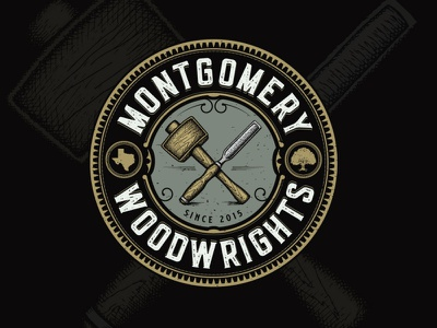 Montgomery Woodwrights adobe illustrator typography texas cabinetry furniture woodwork woodwright wood mallet chisel oak tree classic vintage elegant hand drawn construction