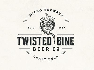 Twisted Bine hop adobe illustrator logo design distillery illustration retro food and drink brewing brewery beer craft beer bine elegant hand drawn classic vintage