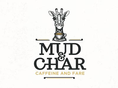 Mud and char adobe illustrator food and drink cup giraffe logo design drawing coffee shop coffee tea elegant hand drawn retro classic typography