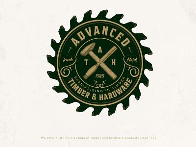 Advanced Timber & Hardware logo design adobe illustrator classic saw tools vintage chisel hammer hand drawn illustration industrial timber woodwork wood lumber