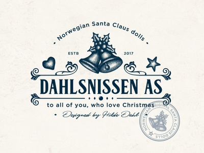 Dahlsnissen as family brand design illustration pencil drawing ornament decoration heart star bells doll santa claus christmas sophisticated elegant retro hand drawn classic vintage