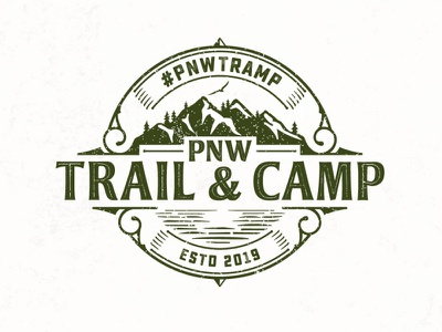 PNW Trail & Camp adobe illustrator retail classic illustration retro vintage travel clothing lake mountain hiking gear camping camp outdoor